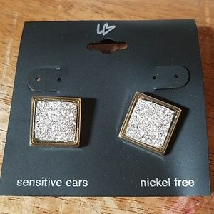 Silver Crushed Rhinestone Square Earrings